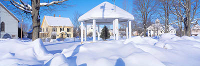 Gazebo And Town In Winter, Danville Poster by Panoramic Images