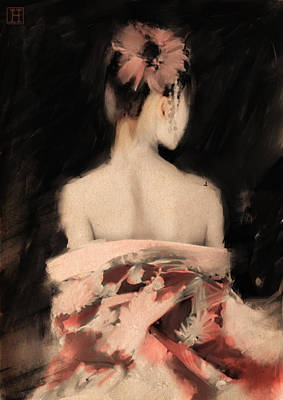 Geisha In Pink Poster by H James Hoff