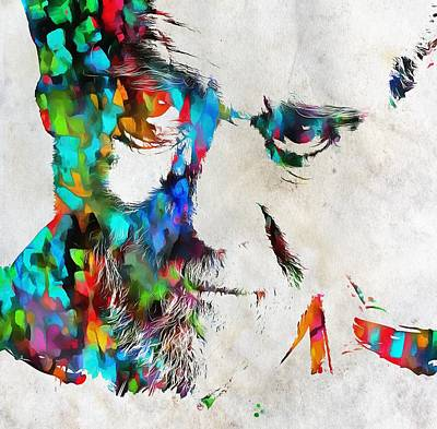 George Carlin Watercolor Abstract Poster by Dan Sproul
