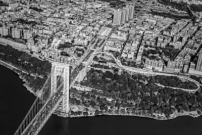 George Washington Bridge Upper Manhattan Bw Poster by Susan Candelario