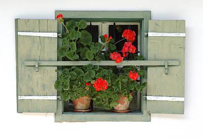 Geranium Window Poster by Frank Tschakert