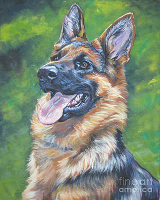 German Shepherd Head Study Poster by Lee Ann Shepard