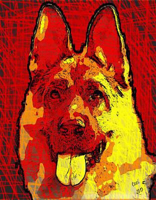 German Shepherd Soul Poster by Maria C Martinez