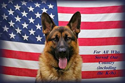 German Shepherd - U.s.a. - Text Poster by Sandy Keeton