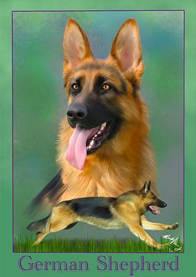 German Shepherd With Name Logo Poster by Becky Herrera