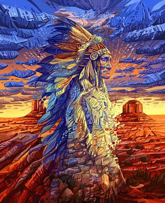Geronimo Decorative Portrait Poster by Bekim Art