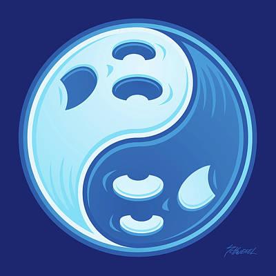 Ghost Yin Yang Symbol Poster by John Schwegel