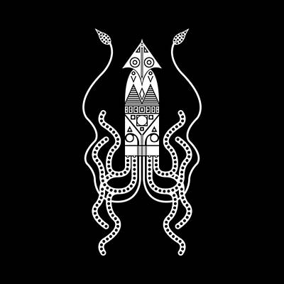 Giant Squid - White Poster by Hinterlund