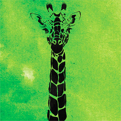 Giraffe Animal Decorative Green Wall Poster  1 - By Diana Van Poster by Diana Van