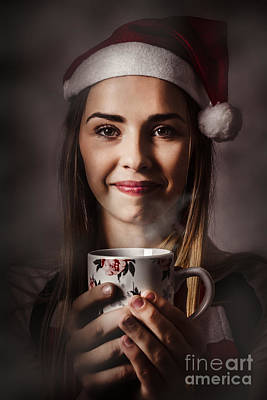 Girl Enjoying A Warm Christmas Hot Cocoa Drink Poster by Jorgo Photography - Wall Art Gallery