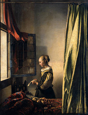 Girl Reading A Letter By An Open Window Poster by Jan Vermeer