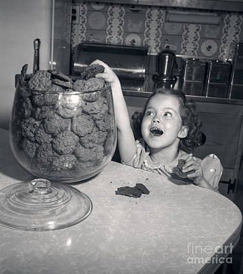 Girl With Hand In Cookie Jar, C.1950s Poster by Debrocke/ClassicStock