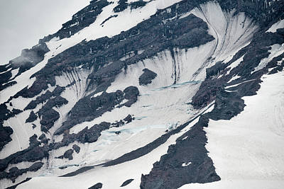 Glacial Fissures On Mount Rainier Poster by Loree Johnson