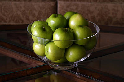 Glass Bowl Of Green Apples  Poster by Michael Ledray