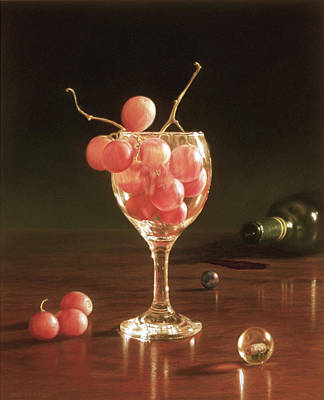 Glass Grapes And Marbles Poster by Barbara Groff