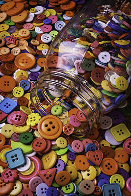 Glass Jar Spilling Buttons Poster by Garry Gay
