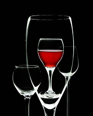 Glass Of Wine In Glass Poster by Tom Mc Nemar
