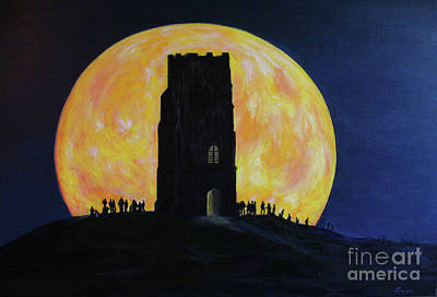 Glastonbury Tor Super Moon. Poster by Anees Peterman