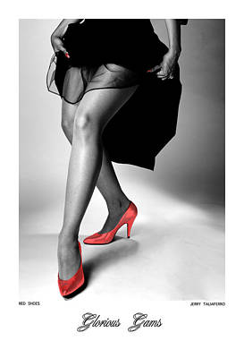 Glorious Gams - Red Shoes Poster by Jerry Taliaferro