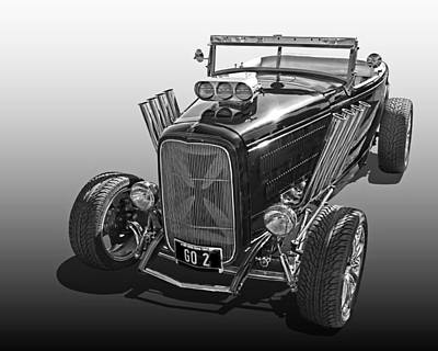 Go Hot Rod In Black And White Poster by Gill Billington