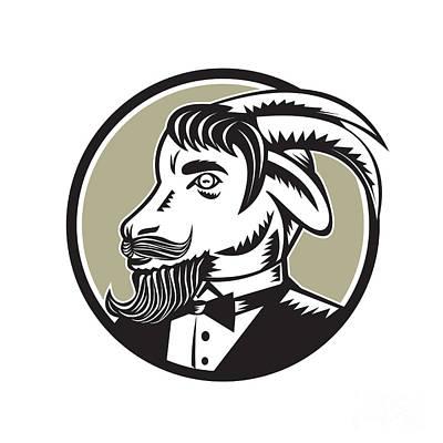 Goat Beard Tuxedo Circle Woodcut Poster by Aloysius Patrimonio