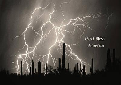 God Bless America Bw Lightning Storm In The Usa Desert Poster by James BO  Insogna