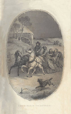 Godey 1860 Christmas In The Country Poster by Karen Szatkowski