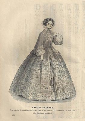 Godey 1860 Robe De Chambre Poster by Karen Szatkowski
