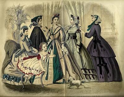 Godey 1865 Fashions Poster by Karen Szatkowski