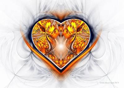 Gold And Sapphire Heart  Poster by Sandra Bauser Digital Art