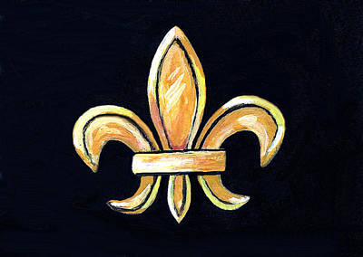Gold Fleur De Lis On Black Poster by Elaine Hodges