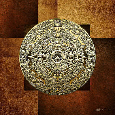 Gold Mayan-aztec Calendar On Brown Leather Poster by Serge Averbukh