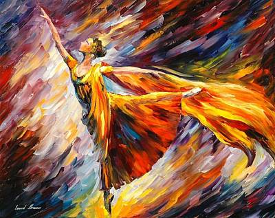 Gold Wave - Palette Knife Oil Painting On Canvas By Leonid Afremov Poster by Leonid Afremov