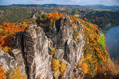 Golden Autumn In Saxon Switzerland Poster by Jenny Rainbow