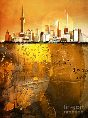 Golden City Poster by Photodream Art