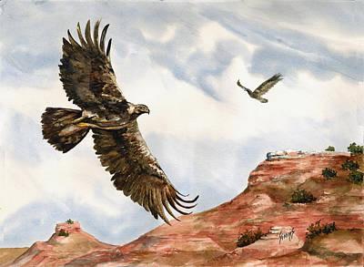 Golden Eagles In Fligh Poster by Sam Sidders