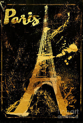 Golden Eiffel Tower Paris Poster by Mindy Sommers