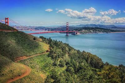 Golden Gate Bridge From The  Marin Headlands Poster by Jennifer Rondinelli Reilly