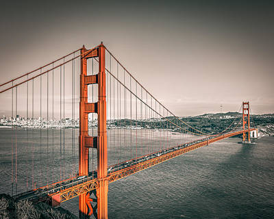 Golden Gate Bridge Selective Color Poster by James Udall