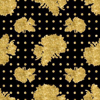 Golden Gold Floral Rose Cluster W Dot Bedding Home Decor Art Poster by Audrey Jeanne Roberts