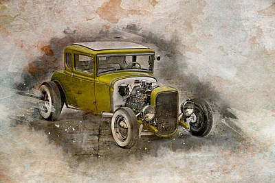 Golden Hot Rod Poster by Joel Witmeyer