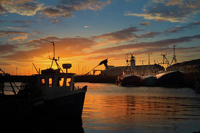 Golden Light And Deep Shadows. Sunrise Over Scarborough Harbour.  Poster by Cliff Miller