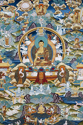 Golden Medicine Buddha Thangka Poster by Tim Gainey