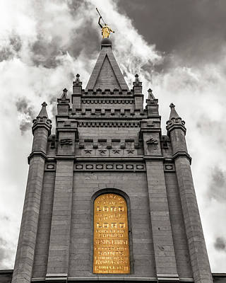 Golden Slc Temple Poster by La Rae  Roberts