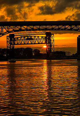 Golden Sunset On The Cuyahoga Poster by Dale Kincaid