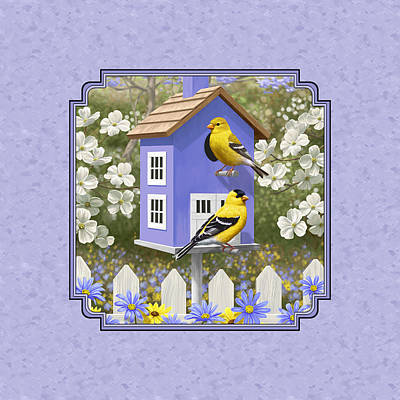 Goldfinch Birdhouse Lavender Poster by Crista Forest