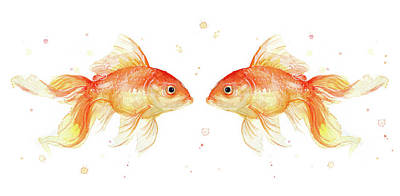 Goldfish Love Watercolor Poster by Olga Shvartsur