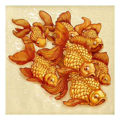 Goldfish On The Go Poster by Catherine Noel