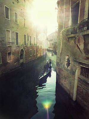 Gondolas In Venice Against Sun Poster by Marco Misuri