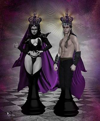 Gothic King And Queen Chess Pieces Poster by Ali Oppy